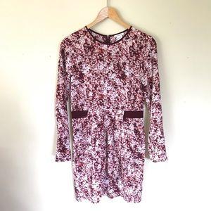 Club Monaco Pink Pattern Silk Long Sleeve Dress